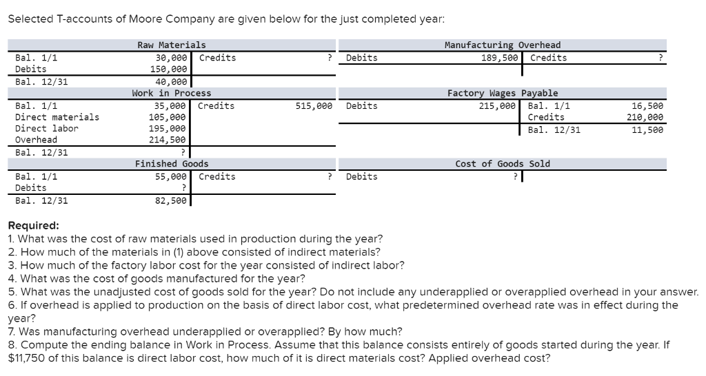Question & Answer: Selected T-accounts of Moore Company are given below for the just completed year: What was the cost of raw…..